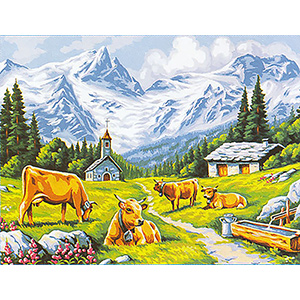 Margot Creations de Paris Needlepoint - Large Canvases - Les Alpages (Mountain Pastures)