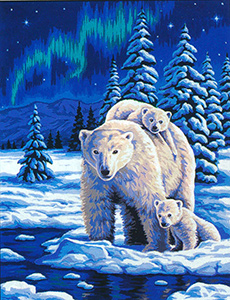 Margot Creations de Paris Needlepoint - Large Canvases - (Nuit Polaire) Polar Night Large Canvas
