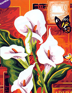 Margot Creations de Paris Needlepoint - Large Canvases - Arums Blancs (White Arums)