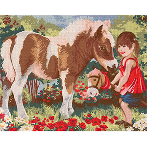 Margot Creations de Paris Needlepoint - Large Canvases - My First Gallop (Mon Premier Galop)