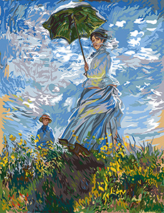 Margot Creations de Paris Needlepoint - Large Canvases -  Woman with the Parasol de Monet