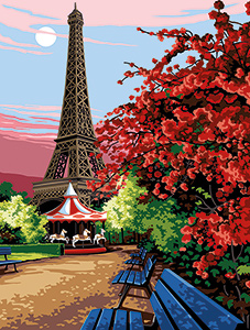 Margot Creations de Paris Needlepoint - Large Canvases -  Carousel at the Eiffel