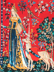 "Margot Creations de Paris Needlepoint - Medium Needlepoint Canvases - Dame a la Licorne ""Le Toucher"" (Detail from The Lady & the Unicorn ""Sense of Touch"")"