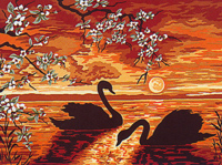 Margot Creations de Paris Needlepoint (Les Cygnes) The Swans Medium Needlepoint Canvas