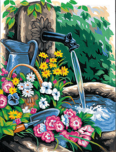 Margot Creations de Paris Needlepoint - Medium Needlepoint Canvases - La Fontaine (The Fountain)