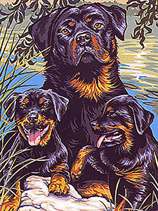 Margot Creations de Paris Needlepoint - Famille Rotweiller (Rotweiller Family)