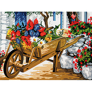 Margot Creations de Paris Needlepoint - Medium Needlepoint Canvases - Brouette de Fleurs (Wheelbarrow of Flowers)