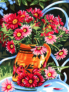 Margot Creations de Paris Needlepoint - Medium Needlepoint Canvases - Bouquet d'Ete  (Summer Bouquet)