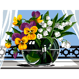 Margot Creations de Paris Needlepoint - Pansies in a Glass Vase