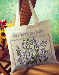 Margot Creations de Paris Embroidery Shopping Bag Kit - Mountain Flowers