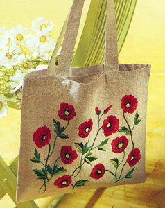 Margot Creations de Paris Embroidery Shopping Bag Kit - Poppies
