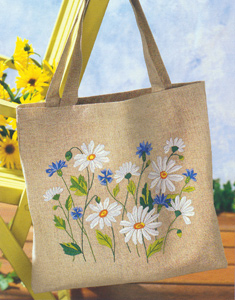 Margot Creations de Paris Embroidery Shopping Bag Kit - Daisies and Blueberries