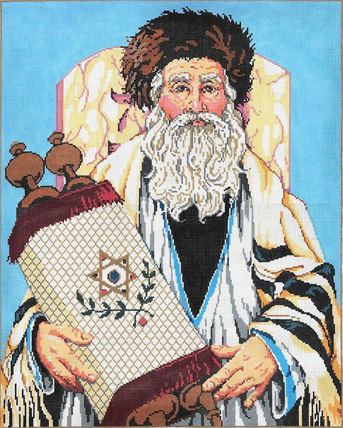 The Rabbi - Stitch Painted Needlepoint Canvas from Sandra Gilmore