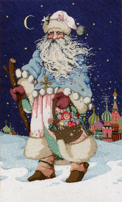 Father Frost - Stitch Painted Needlepoint Canvas from Sandra Gilmore