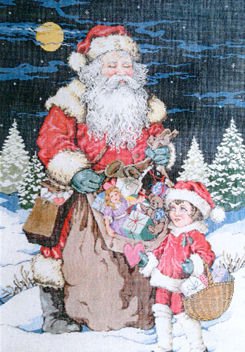 Special Delivery (Santa) - Stitch Painted Needlepoint Canvas from Sandra Gilmore