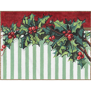 Holly Stripe - Stitch Painted Needlepoint Canvas from Sandra Gilmore