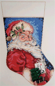 Jolly Stocking Hand Painted Needlepoint Canvas