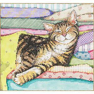 Cat Nap - Stitch Painted Needlepoint Canvas from Sandra Gilmore