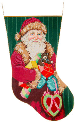 Bundles - Stitch Painted Needlepoint Christmas Stocking Canvas