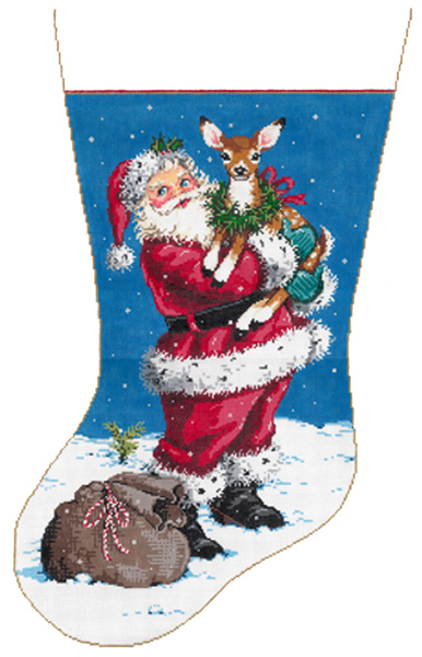 Fawn-dly - Stitch Painted Needlepoint Christmas Stocking Canvas