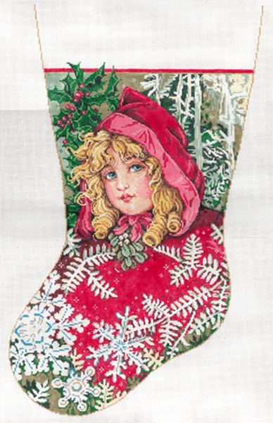 Scarlett - Stitch Painted Needlepoint Christmas Stocking Canvas
