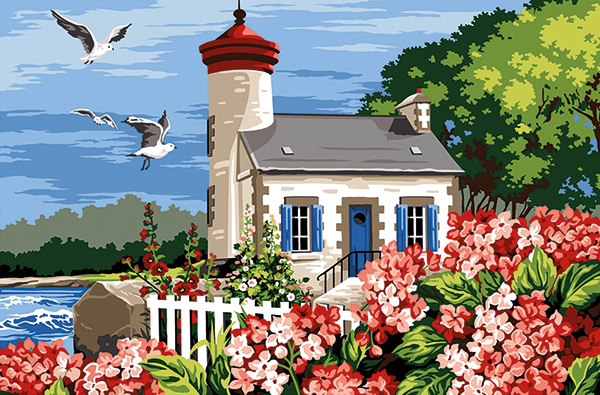 Margot Creations de Paris Needlepoint - Tapestries - Lighthouse (Phare aux Orthensias)