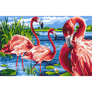 Margot Creations de Paris Needlepoint - Tapestries - Flamingos