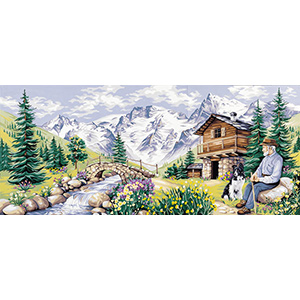 Royal Paris Needlepoint - (La Pause Montagnarde) The Mountain Pause Large Canvas