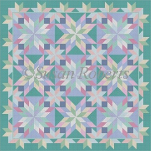 Susan Roberts Needlepoint Designs - Hand-painted Canvas - Beach Glass Starburst