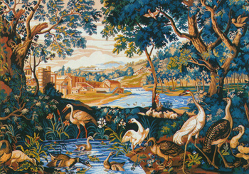 Royal Paris Needlepoint - Tapestry Canvases - Greenery with Water Birds