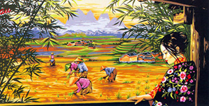 Margot Creations de Paris Needlepoint (La Couleurs des Rizieres) Colors of the Rice Paddy Tapestry Canvas