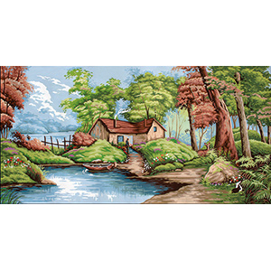 Margot Creations de Paris Needlepoint - Tapestries - Le Chemin Forestier (The Forest Road) Tapestry Canvas