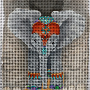 Baby Elephant's View - Hand Painted Needlepoint Canvas from dede's Needleworks