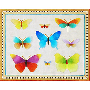 Butterfly Collection - Hand Painted Needlepoint Canvas from dede's Needleworks