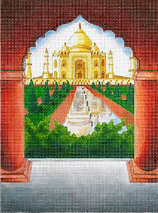 Windows on the World - Taj Mahal - Hand Painted Needlepoint Canvas from dede's Needleworks
