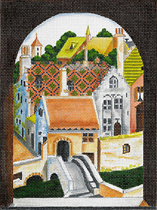 Windows on the World - Village Scene - Hand Painted Needlepoint Canvas from dede's Needleworks