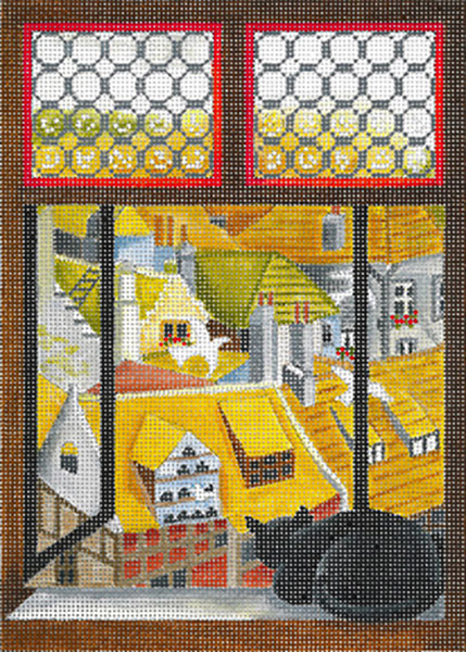 Windows on the World - Cat's Bird's Eye View - Hand Painted Needlepoint Canvas from dede's Needleworks