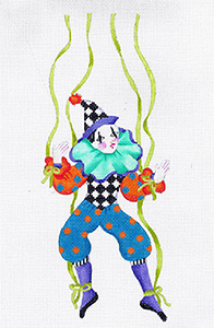 Le Cirque Marionette Pierre - Hand Painted Needlepoint Canvas from dede's Needleworks