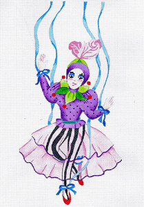 Le Cirque Marionette Paulette - Hand Painted Needlepoint Canvas from dede's Needleworks