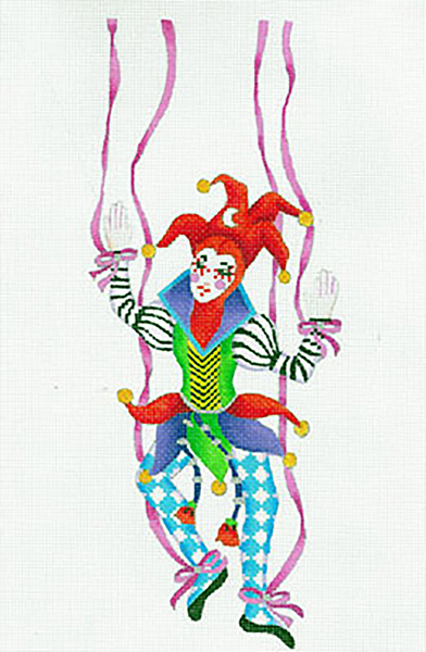 Le Cirque Marionette C. Pepe - Hand Painted Needlepoint Canvas from dede's Needleworks
