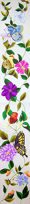 Butterflies & Clematis Bell Pull - Hand Painted Needlepoint Canvas from dede's Needleworks