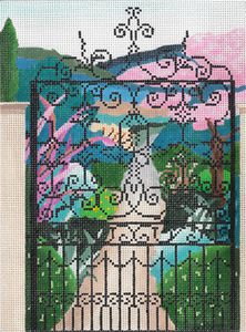 View to the Garden - Hand Painted Needlepoint Canvas from dede's Needleworks