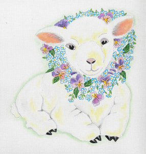 Baby Lily Lamb - Hand Painted Needlepoint Canvas from dede's Needleworks