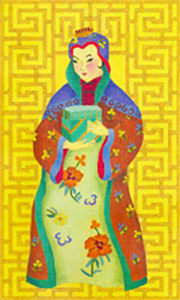 Chinese Lady with Box - Hand Painted Needlepoint Canvas from dede's Needleworks