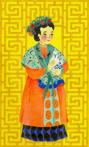 Chinese Lady with Vase - Hand Painted Needlepoint Canvas from dede's Needleworks