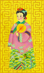 Chinese Lady with Fan - Hand Painted Needlepoint Canvas from dede's Needleworks