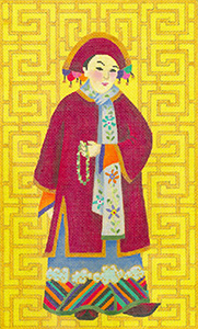Chinese Lady with Beads - Hand Painted Needlepoint Canvas from dede's Needleworks