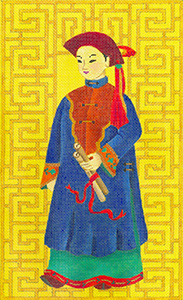 Chinese Man with Scroll - Hand Painted Needlepoint Canvas from dede's Needleworks