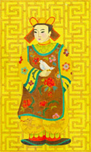 Chinese Man with Bird - Hand Painted Needlepoint Canvas from dede's Needleworks