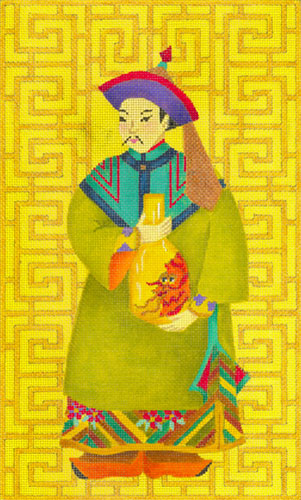 Chinese Man with Vase - Hand Painted Needlepoint Canvas from dede's Needleworks